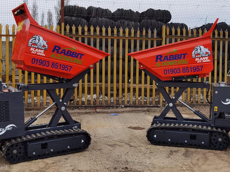 Dumper Hire Sussex - 1 Tonne Hi Lift Dumpers Track Barrows