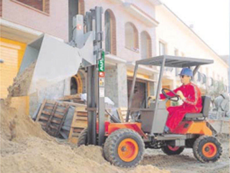 Masted forklift hire in construction